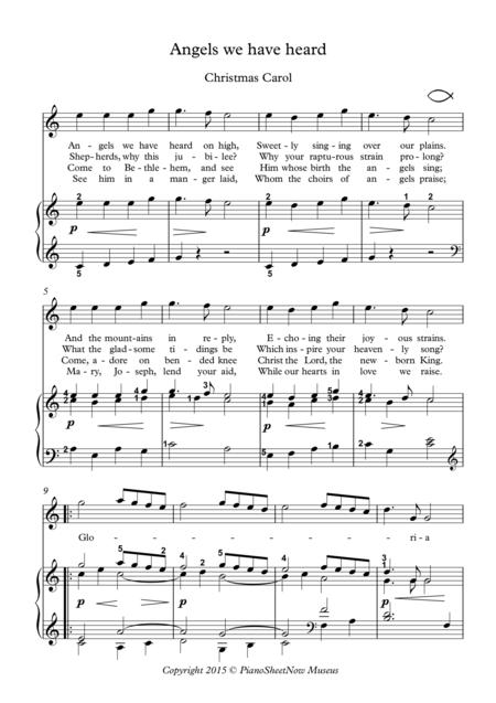 Angels we have heard Piano Christmas carol