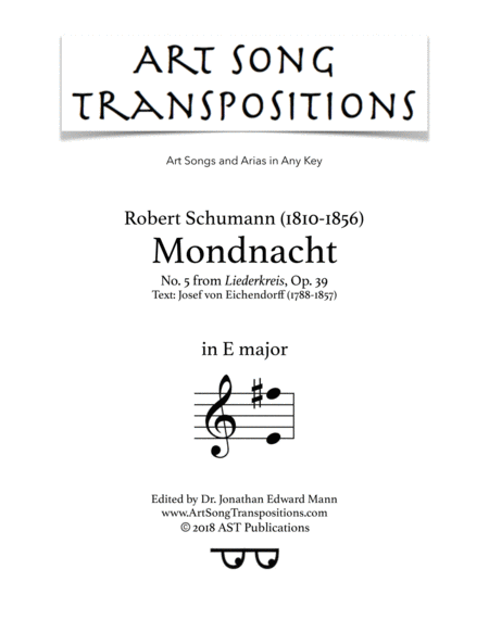 Mondnacht, Op. 39 no. 5 (E major)