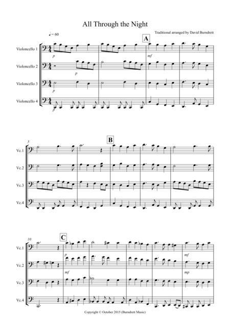 All Through the Night for Cello Quartet