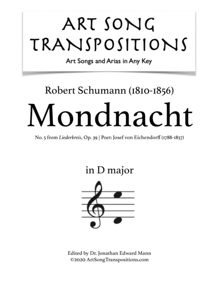 Mondnacht, Op. 39 no. 5 (D major)