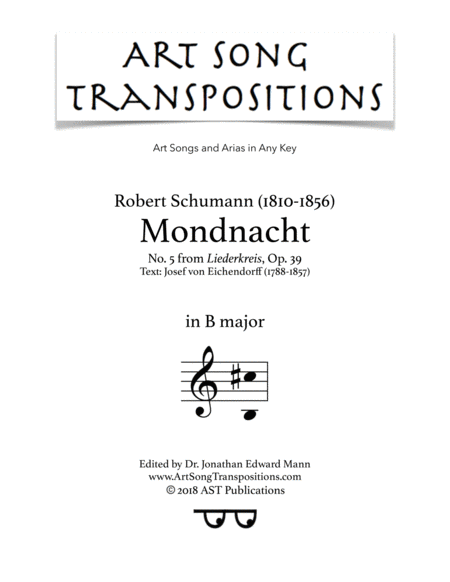Mondnacht, Op. 39 no. 5 (B major)