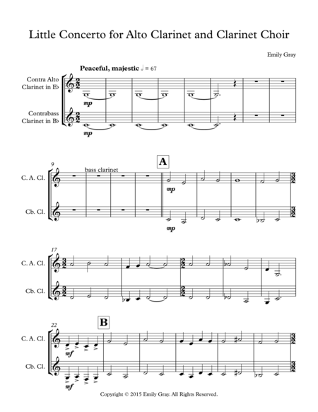 Little Concerto for Alto Clarinet and Clarinet Choir (Contrabass Clarinet Part)