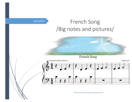 FRENCH SONG /big notes and pictures, landscape format  - beginners read it easily
