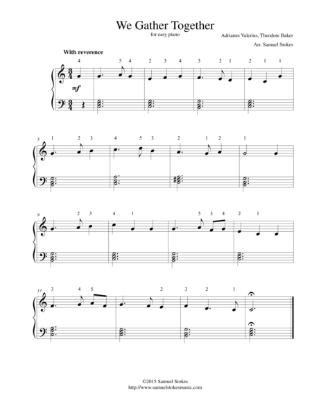 We Gather Together (The Thanksgiving Hymn) - for easy piano