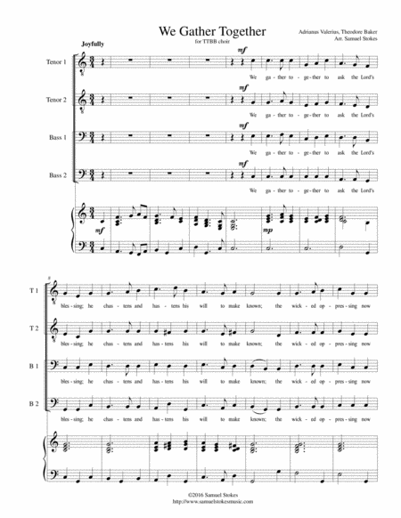 We Gather Together (The Thanksgiving Hymn) - for TTBB choir with piano accompaniment
