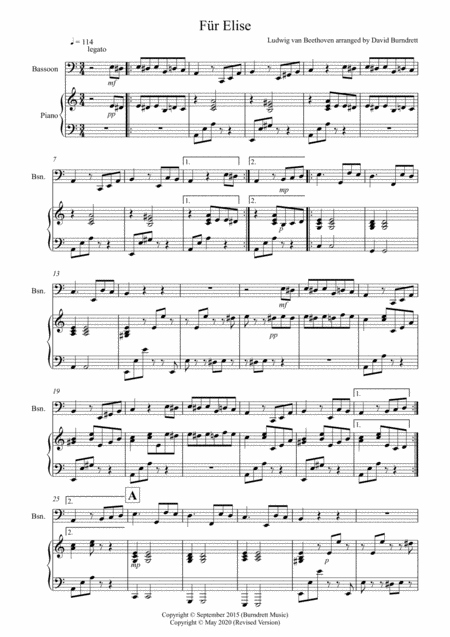 Fur Elise for Bassoon and Piano
