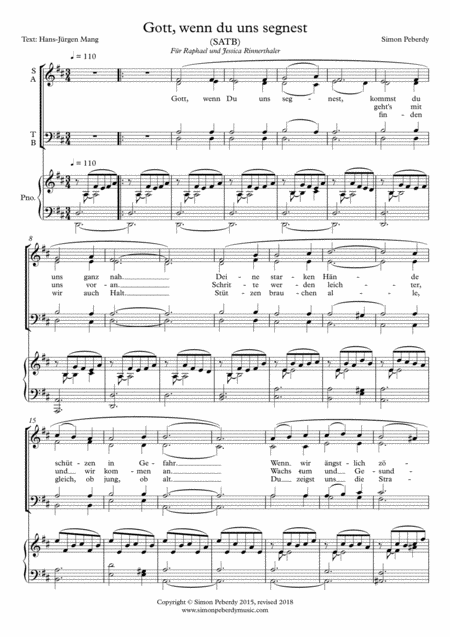 Lord, your gentle blessing draws us close to you, SATB & optional piano, by Simon Peberdy