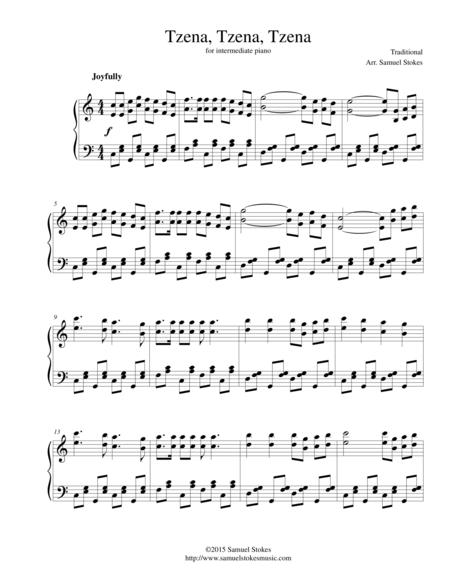 Tzena, Tzena, Tzena - for intermediate piano