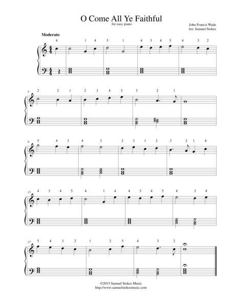 O Come All Ye Faithful (Adeste Fidelis) - for easy piano