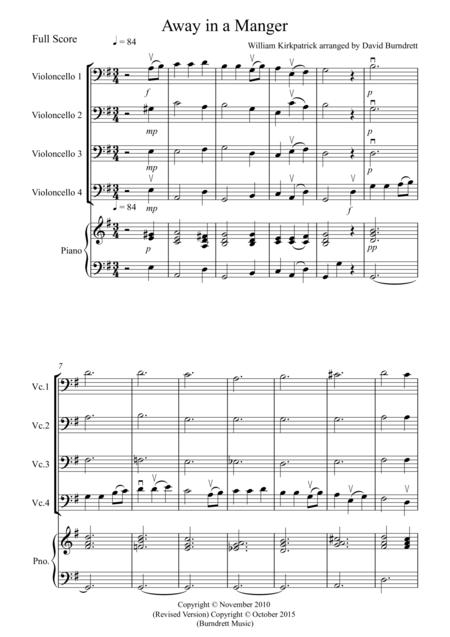 Away in a Manger for Cello Quartet