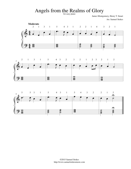 Angels from the Realms of Glory - for easy piano