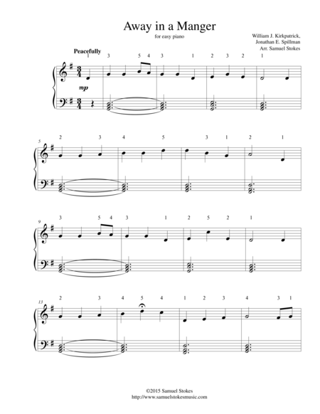 Away in the Manger (Kirkpatrick) - for easy piano