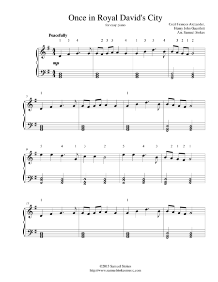 Once in Royal David's City - for easy piano