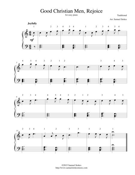 Good Christian Men, Rejoice (In Dulci Jubilo) - for easy piano