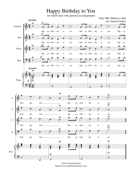 Happy Birthday to You - for SATB choir