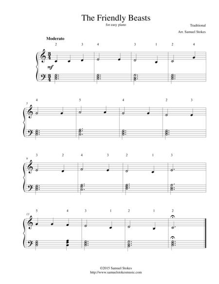 The Friendly Beasts - for easy piano
