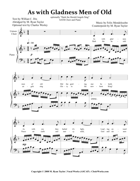 As With Gladness Men of Old \  Hark! the Herald Angels Sing : SATB Choir and Piano with optional Violin and Cello