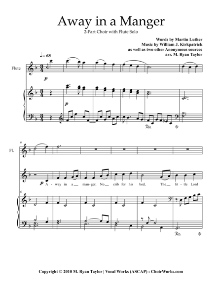 Away in a Manger : 2-part Choir, Piano and Flute