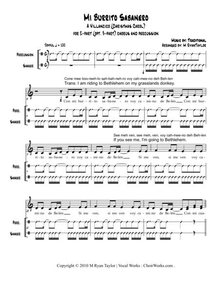 Mi Burrito Sabanero, a Villancico (Christmas Carol) for 2 or 3-part Choir and Percussion