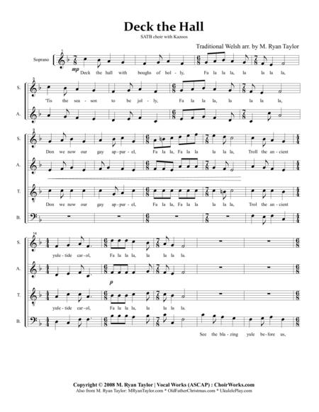 Deck the Halls : a Mixed Meter arrangement for SATB Acapella Choir or Caroling Quartet
