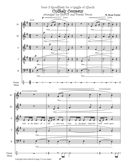 3 Quodlibets for a Gaggle of Ghouls (Choral Version) : SSATB Choir, Soloists and Percussion