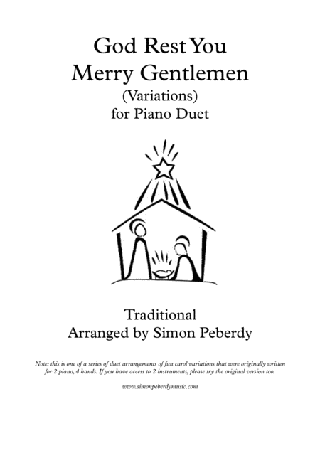 God Rest You Merry Gentlemen, Christmas Carol Variations for piano duet by Simon Peberdy