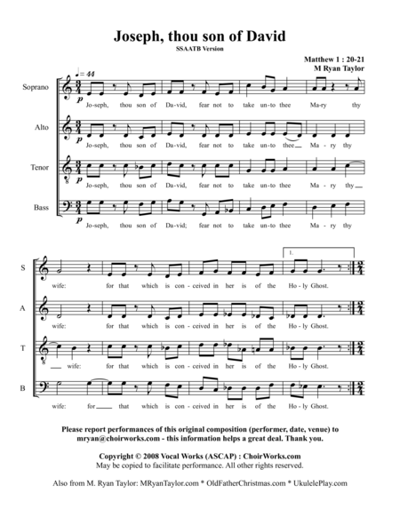 Joseph, Thou Son of David (Matthew 1 : 20-21) : SSAATB or SSATB Choir Acapella