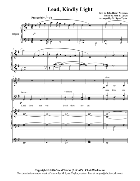 Lead, Kindly Light : SATB Choir, Organ and Vocal Soloist