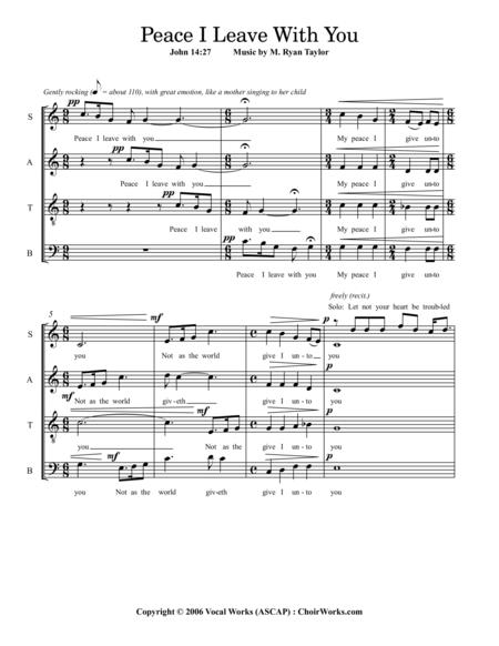 Peace I Leave With You (John 14:27) : SATB Acapella and Soprano Soloist