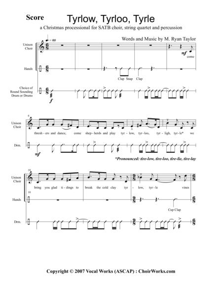 Tyrlow, Tyrloo, Tyrle : A Shepherd's Christmas Carol : SATB Choir, String Quartet and Hand Percussion