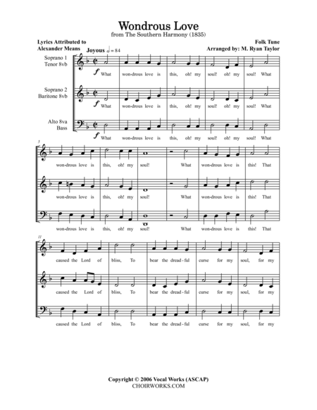 Wondrous Love : SATB Acapella Choir (with Divisi)
