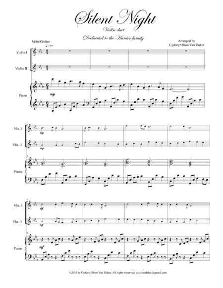 Silent Night  Violin duet in E flat