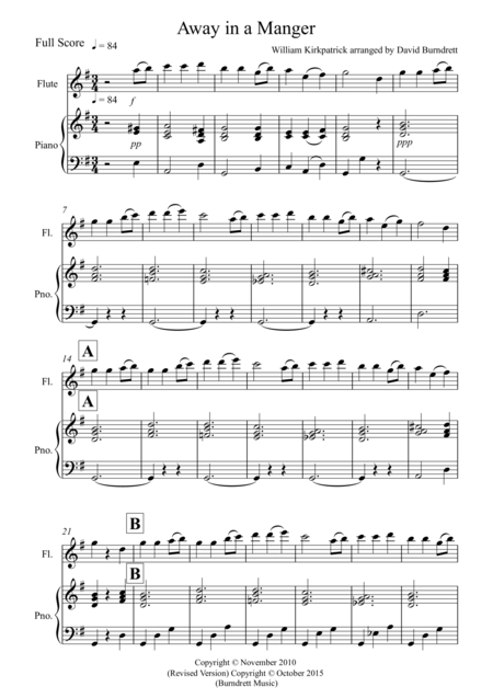 Away in a Manger for Flute and Piano