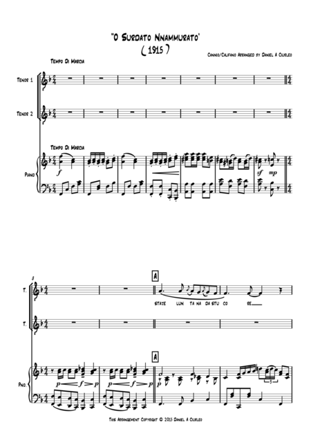 'O Surdato 'Nnammurato' for Piano and Tenor Solo/Duo