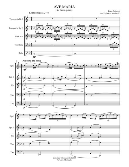 SCHUBERT, AVE MARIA, for Brass Quintet