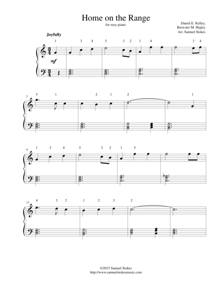 Home on the Range - for easy piano