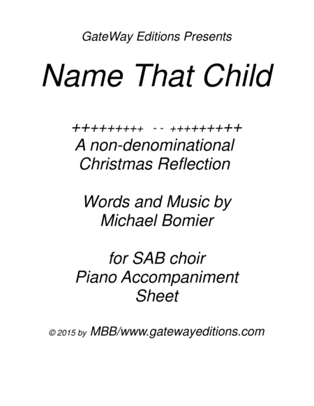Name That Child SAB Piano Accomp. ONLY