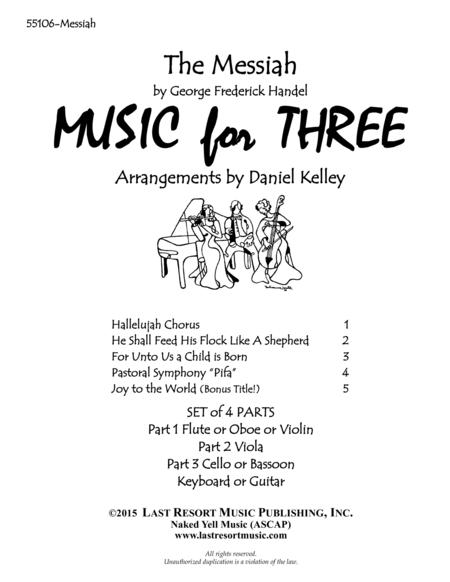 Handel's Messiah for Piano Quartet (Violin, Viola, Cello, Piano) Set of 4 Parts