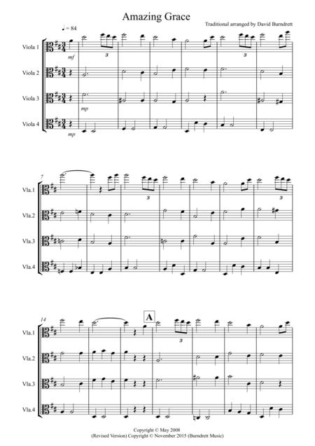 Amazing Grace for Viola Quartet