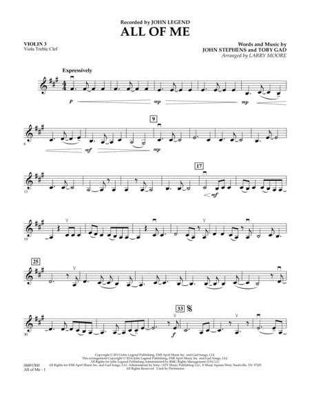 Violin violin chords for all of me : All Of Me - Violin 3 (Viola Treble Clef)