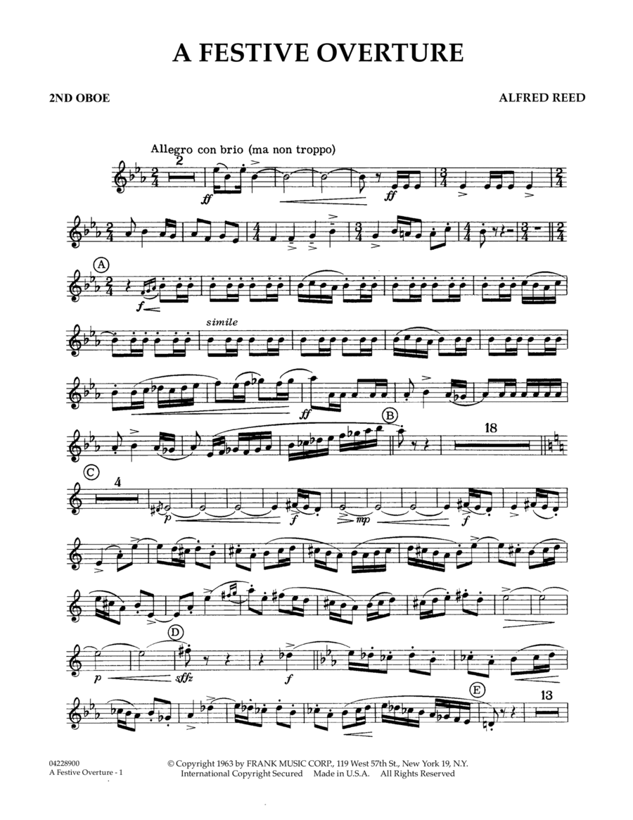 A Festive Overture - 2nd Oboe