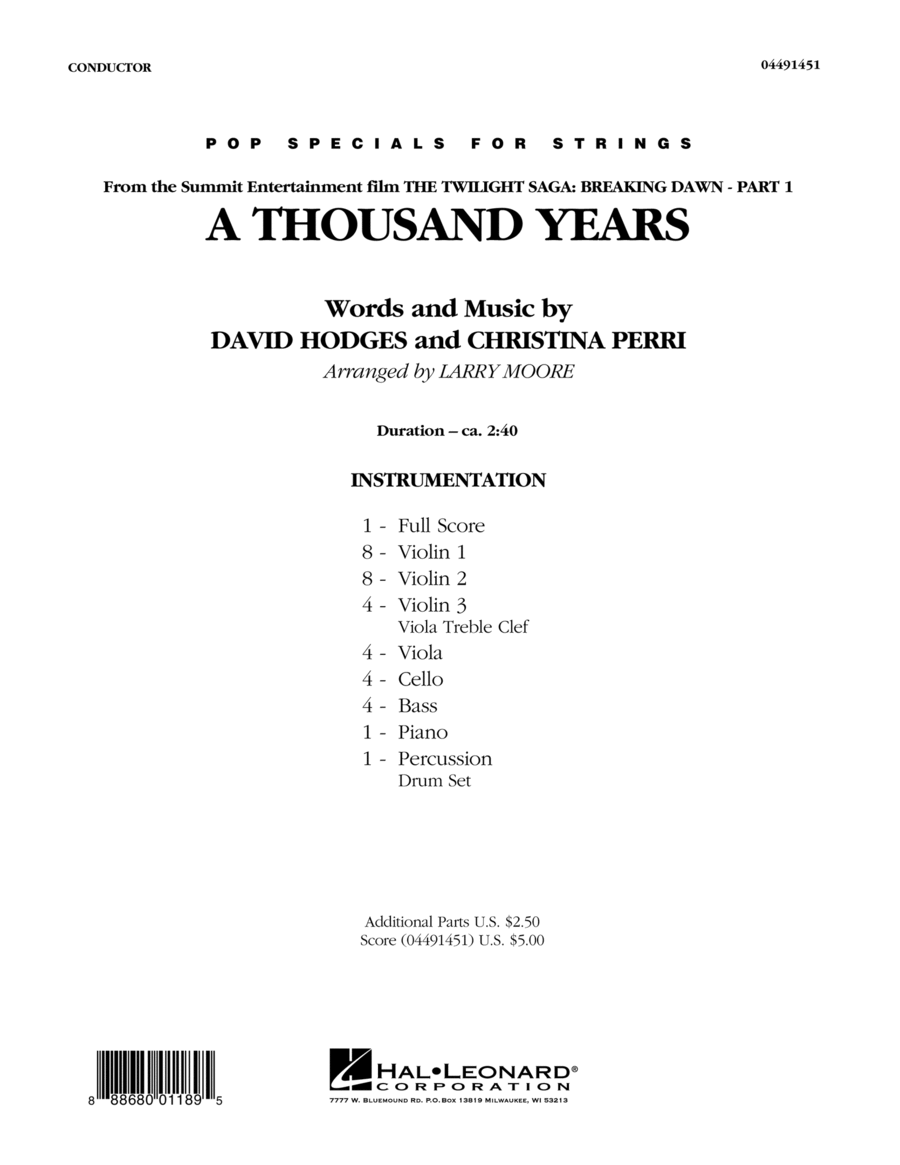 A Thousand Years - Conductor Score (Full Score)