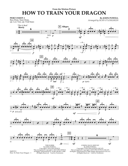 How to Train Your Dragon - Percussion 1