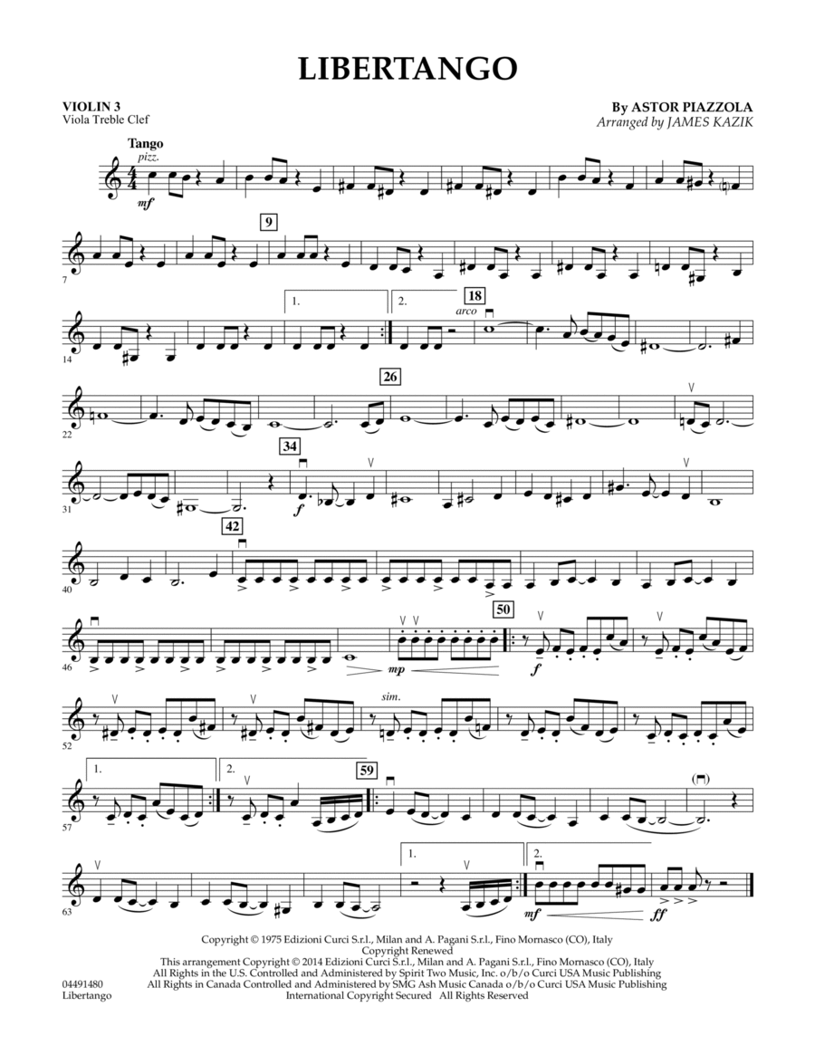 Libertango - Violin 3 (Viola Treble Clef)