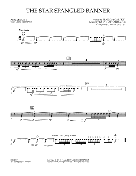The Star Spangled Banner - Percussion 1