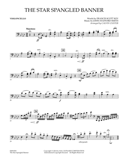 The Star Spangled Banner - Violoncello