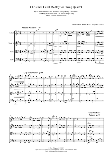 Christmas Carol Medley for String Quartet Score and Parts