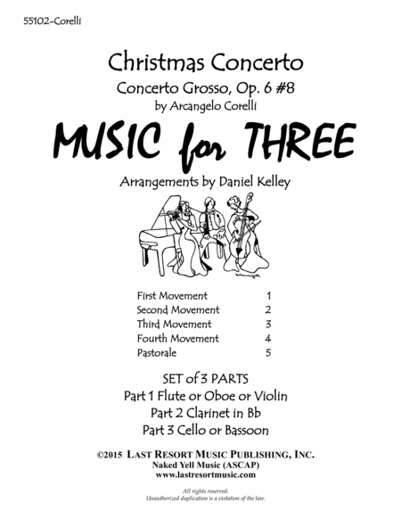 Christmas Concerto (Concerto Grosso Op. 6 #8) for Woodwind Trio (Flute or Oboe, Clarinet & Bassoon) Set of 3 Parts