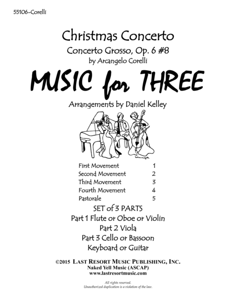 Christmas Concerto (Concerto Grosso Op. 6 #8) for Piano Quartet (Violin, Viola, Cello, Piano) Set of 4 Parts