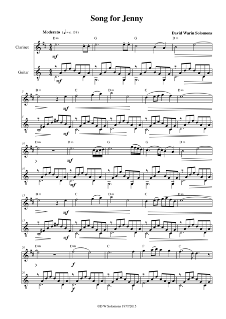 Song for Jenny for clarinet and guitar
